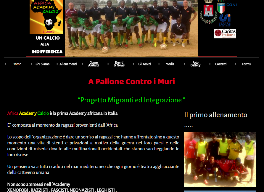 sito per africaacademycalcio associazione sportiva