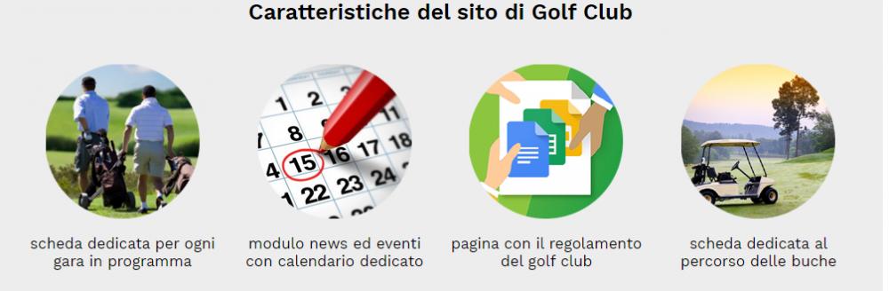 caratteristiche sito web golf club