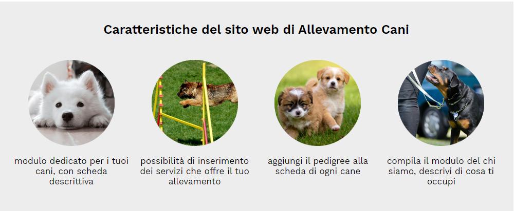 caratteristiche sito web allevamento cani