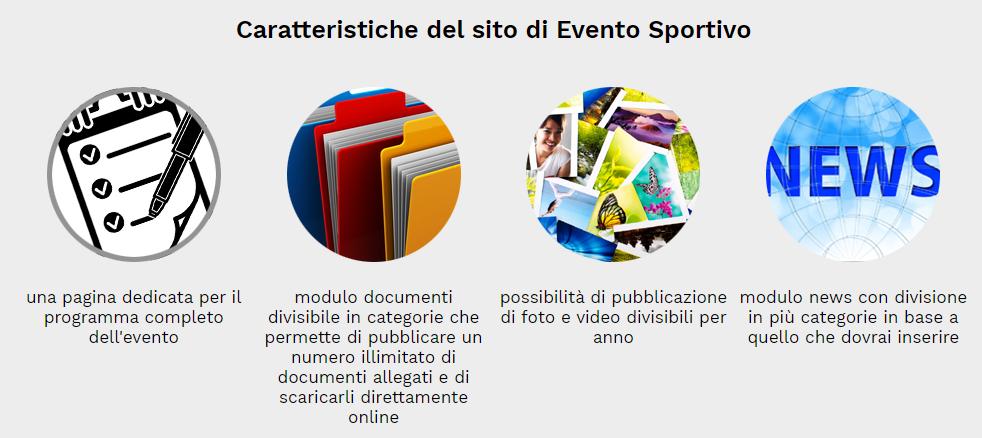 caratteristiche sito evento sportivo
