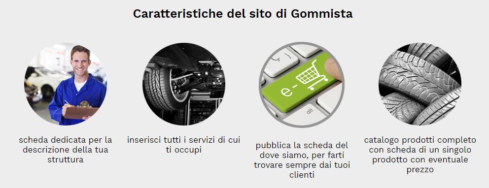 caratteristiche sito web gommista