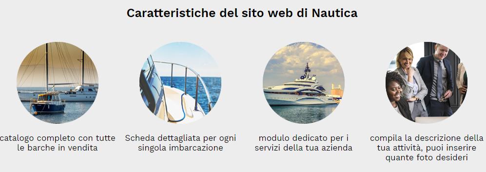 caratteristiche sito web nautica