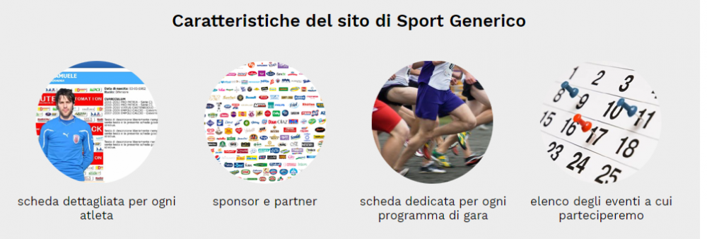 caratteristiche sito web sport generico