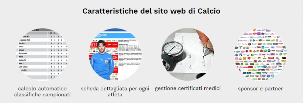 caratteristiche sito squadra calcio