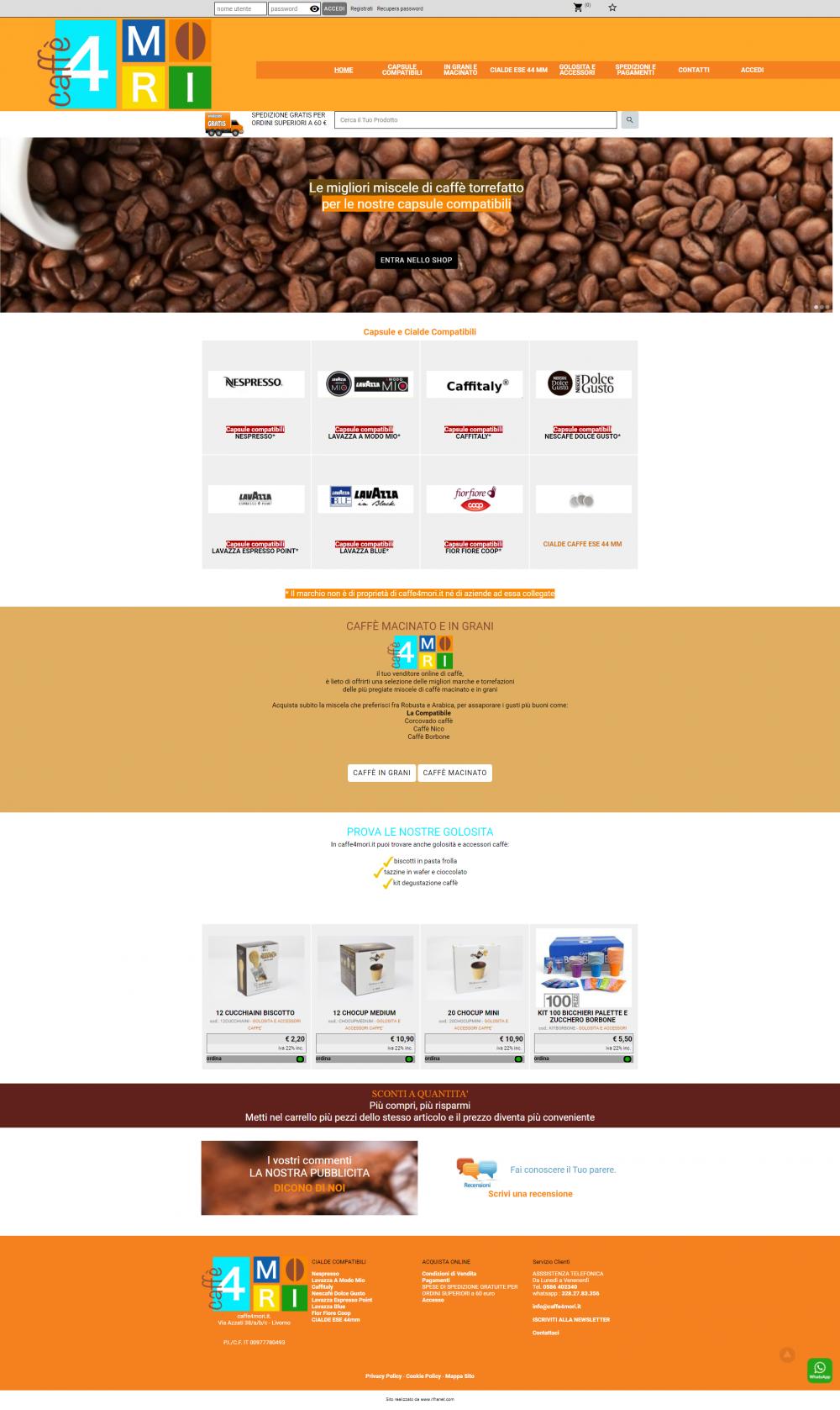 www.caffe4mori.it dopo il restyling