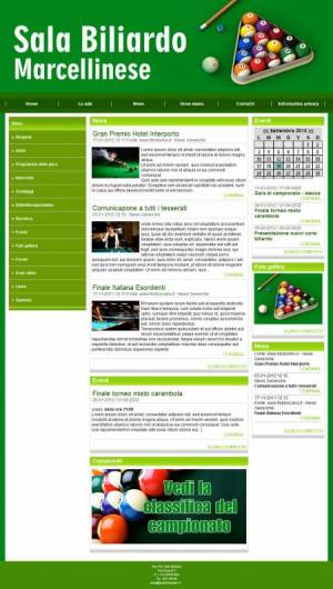 sito web sala biliardo template