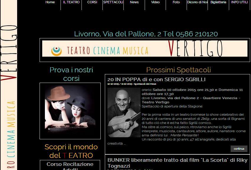 www.vertigotestro.it prima del restyling